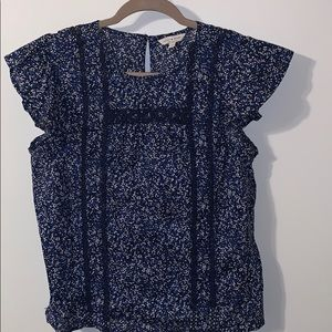 Navy floral crochet trim top